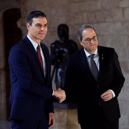 Archivo - Arxiu - El president de la Generalitat, Quim Torra, i el president del Govern central, Pedro Sánchez