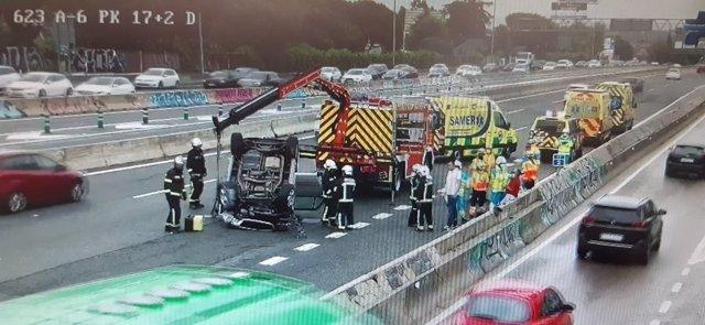 Accidente de tráfico en la A-6, en La Rozas, con dos heridos leves