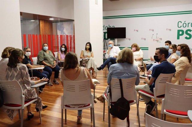 Reunión del Grupo Motor de Educación del PSOE de Córdoba, con la asistencia de Noemí Cruz.
