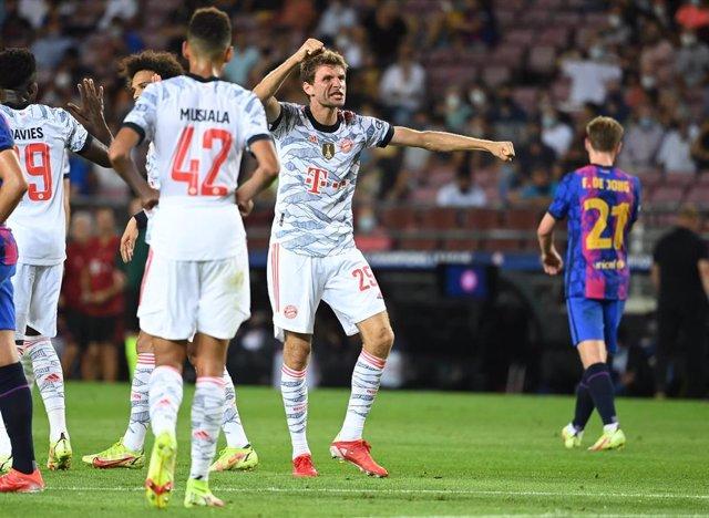 Thomas Mller celebra su tanto en el Barcelona-Bayern