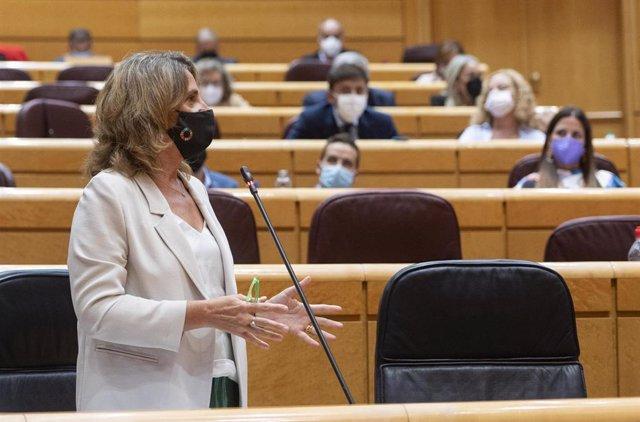 La vicepresidenta tercera y ministra de Transición Ecológica y Reto Demográfico, Teresa Ribera, interviene durante el primer pleno y primera sesión de control al Gobierno en el Senado tras el parón estival, a 14 de septiembre de 2021, en Madrid (España).