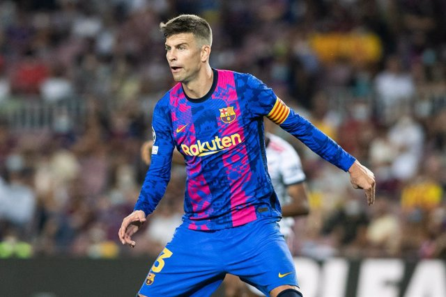 Gerard Pique of FC Barcelona in action during the UEFA Champions League, football match played between FC Barcelona and Bayern Munich at Camp Nou Stadium on September 14, 2021, in Barcelona, Spain.