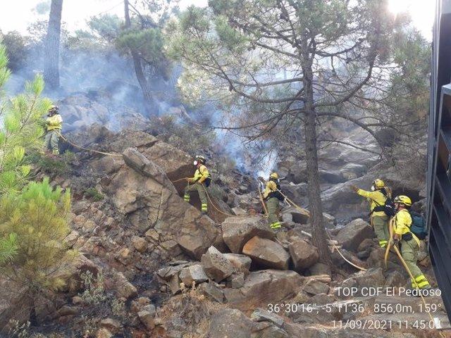 Efectivos del Infoca trabajando en el incendio de Sierra Bermeja