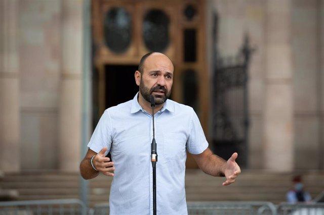 El vicepresidente de Òmnium Cultural, Marcel Mauri, ante el TSJC, donde este miércoles declaran exmiembros de la Mesa del Parlament por presunta desobediencia.