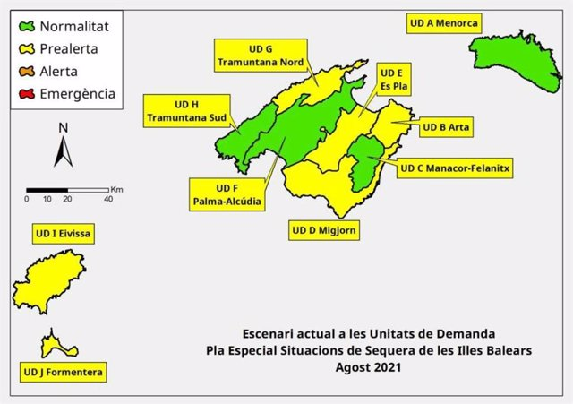 Mapa del Plan Especial de Situaciones de Sequía de Baleares en agosto de 2021.