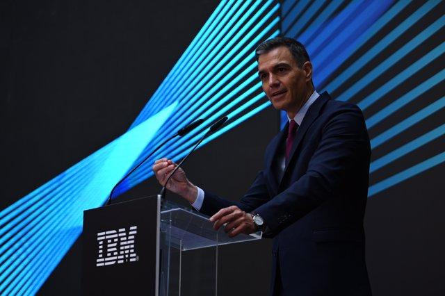 El presidente del Gobierno, Pedro Sánchez, durante la presentación de la primera región de datos de IBM en España este miércoles 15 de agosto