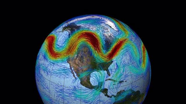 En esta visualización, basada en observaciones del conjunto de datos MERRA de la NASA, la corriente en chorro polar del hemisferio norte se ve como un cinturón serpenteante y rápido de vientos del oeste que atraviesan las capas inferiores de la atmósfera