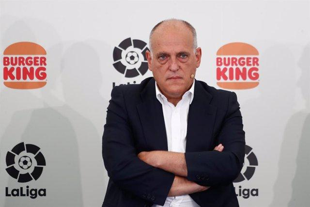 Javier Tebas, President of LaLiga, is seen during an act of presentation of the Burger King Sponsorship to LaLiga celebrated at Burger King Majadahonda on september 15, 2021, in Madrid, Spain.
