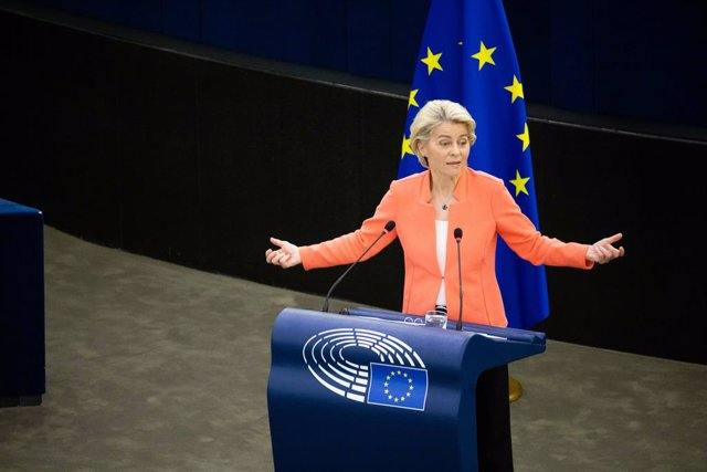 15 September 2021, France, Strasbourg: President of the European Commission Ursula von der Leyen delivers a speech during a plenary session at the European Parliament. Photo: Philipp von Ditfurth/dpa