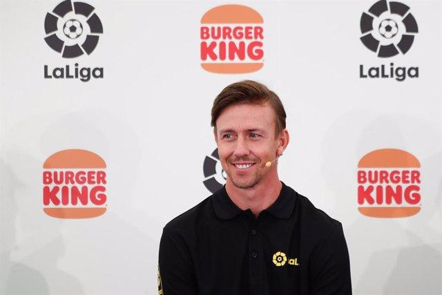 Guti Hernandez, Ambassador of LaLiga, is seen during an act of presentation of the Burger King Sponsorship to LaLiga celebrated at Burger King Majadahonda on september 15, 2021, in Madrid, Spain.