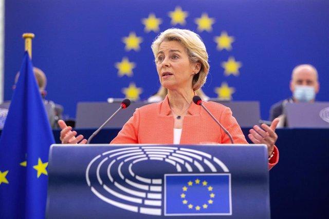 HANDOUT - 15 September 2021, France, Strasbourg: President of the European Commission Ursula von der Leyen.