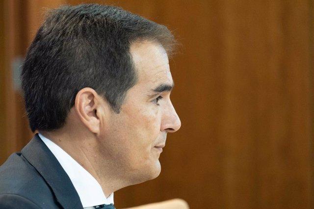 El portavoz parlamentario del PP-A, José Antonio Nieto, en rueda de prensa este miércoles.