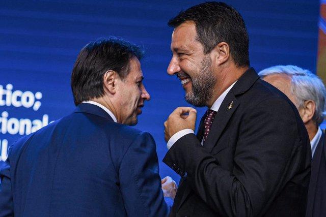 24 August 2021, Italy, Rimini: Former Italian Prime Minister Giuseppe Conte (L), and Matteo Salvini, former Interior Minister and Lega Nord leader, attend the Rimini meetings of Italian politics' protagonists. Photo: Massimo Paolone/LaPresse via ZUMA Pres