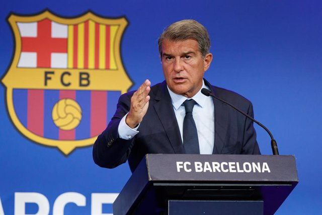 16 August 2021, Spain, Barcelona: FC Barcelona President Joan Laporta speaks during a press conference at Auditori 1899. FC Barcelona. Photo: Dax/DAX via ZUMA Press Wire/dpa
