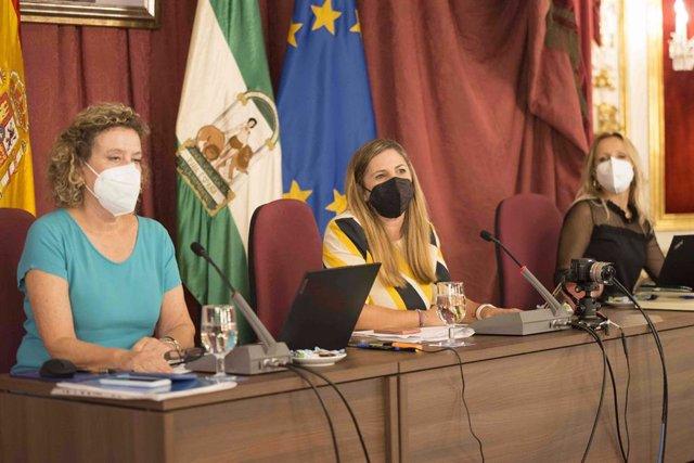 Irene García presidiendo el primer pleno presencial de Diputación desde febrero de 2020.