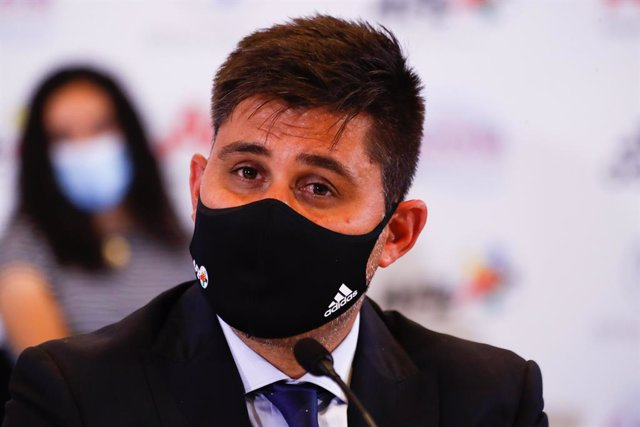 David Aganzo, President of AFE, attends during the press conference of the Association of Spanish Footballers (AFE) denouncing the non-inclusion of Rayo Vallecano players in Social Security as professionals on August 19, 2021, in Madrid, Spain.