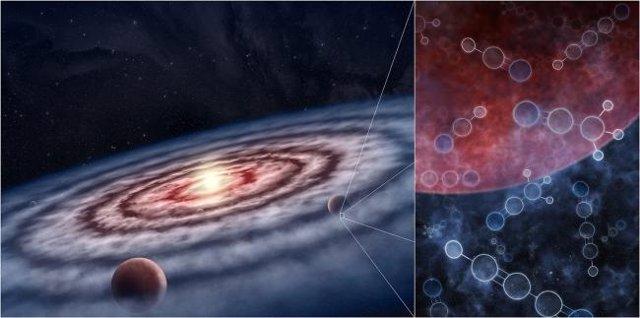 Impresión artística del gas y el polvo en el disco protoplanetario que rodea a la joven estrella.