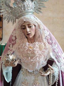 Imagen de la Virgen de la Luz de la Hermandad del Resucitado de Huelva.