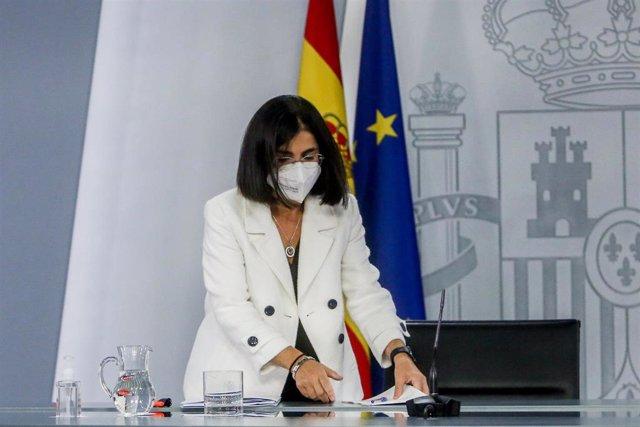 La ministra de Sanidad, Carolina Darias, tras la reunión del Consejo Interterritorial del Sistema Nacional de Salud.