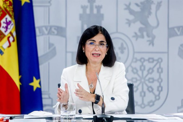 La ministra de Sanidad, Carolina Darias, durante una rueda de prensa posterior a la reunión del Consejo Interterritorial del Sistema Nacional de Salud, a 15 de septiembre de 2021, en Madrid (España).