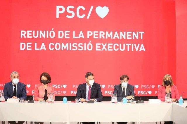 Reunió extraordinària de la Permanent del PSC amb el president del Govern, Pedro Sánchez.