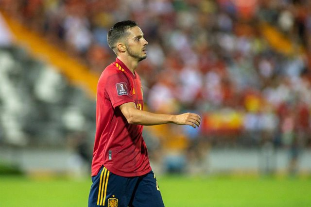 Pablo Sarabia of Spain looks on during the 2022 FIFA World Cup Qualifier match between Spain and Georgia at Nuevo Viveros Stadium on September 5, 2021 in Badajoz, Spain.