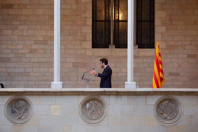 Arxiu - El president del Govern, Pere Aragonès, al Palau de la Generalitat