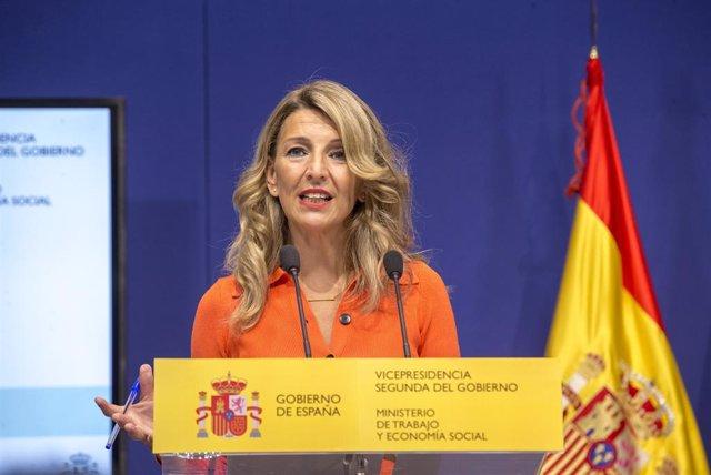 Archivo - Arxiu - La vicepresidenta segona del Govern central i ministra de Treball i Economia Social, Yolanda Díaz