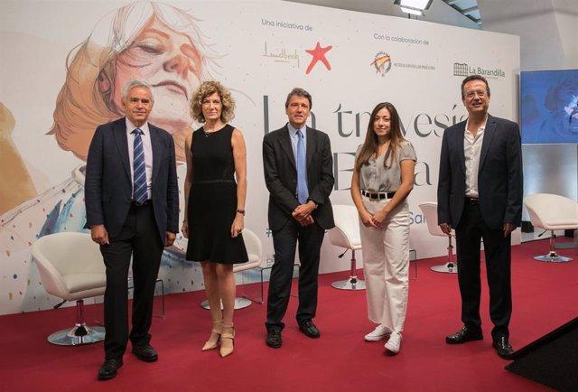 El doctor Vicente Gasull, Susana Gómez-Lus, el doctor Celso Arango, Ana Santos y José Manuel Dolader