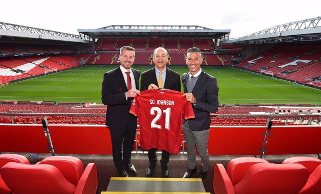 Anfield Stadium, Liverpool, 16 September 2021: [Pictured R-L] Liverpool FC Legend, Luis Garcia, is pictured alongside Fisk Johnson, Chairman and CEO SC Johnson, and Billy Hogan, CEO Liverpool Football Club at the launch of a new global sustainability part
