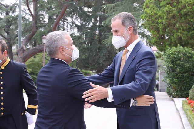 El Rey Felipe VI recibe al presidente de Colombia, Iván Duque, en el Palacio de la Zarzuela