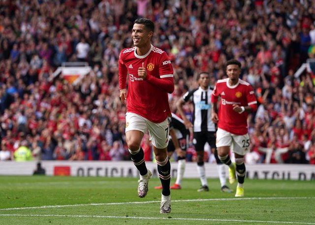 11 September 2021, United Kingdom, Manchester: Manchester United's Cristiano Ronaldo celebrates scoring his side's first goal during the English Premier League soccer match between Manchester United and Newcastle United at Old Trafford. Photo: Martin Rick