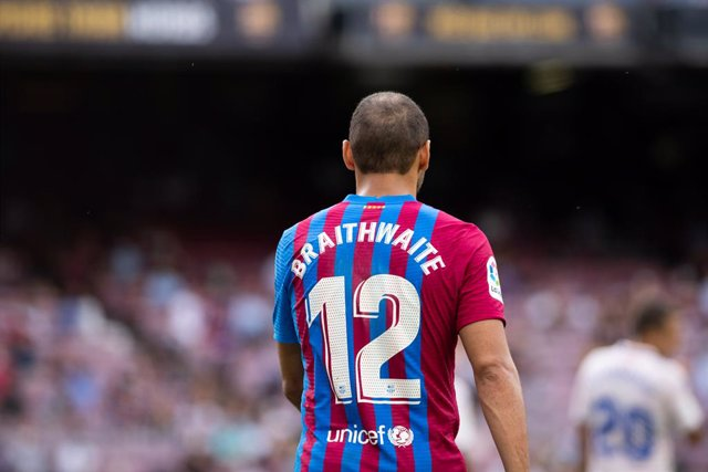 Martin Braithwaite of FC Barcelona number #12 during the spanish league, La Liga Santander, football match played between FC Barcelona and Getafe CF at Camp Nou stadium on August 29, 2021, in Barcelona, Spain.