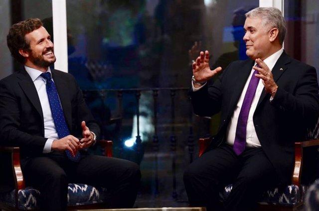 El líder del Partido Popular, Pablo Casado, se ha vuelto a reunir este jueves con el presidente de Colombia, Iván Duque.