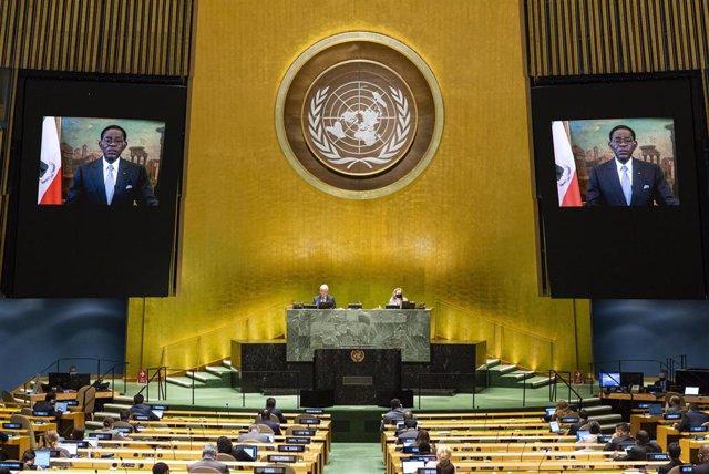 Archivo - Teodoro Obiang, presidente de Guinea Ecuatorial, habla en la Asamblea General de la ONU