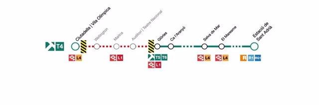 Afectació del servei de la línia T4 de Tram d'aquest diumenge