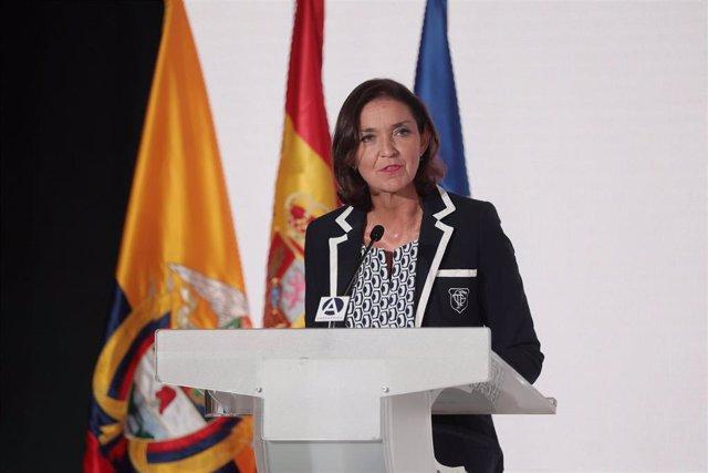 La ministra de Industria, Comercio y Turismo de España, Reyes Maroto, interviene en las jornadas económicas 'España y Colombia, Desafíos y Oportunidades de Inversión 2021' en el Auditorio Gabriela Mistral, a 17 de septiembre de 2021, en Madrid, (España).