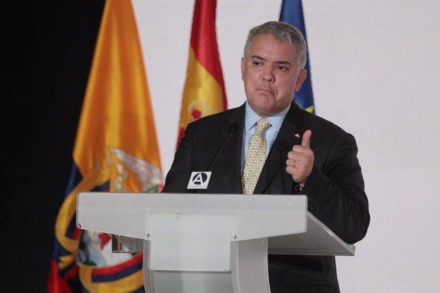 El presidente de la República de Colombia, Iván Duque, interviene en las jornadas económicas 'España y Colombia, Desafíos y Oportunidades de Inversión 2021' en el Auditorio Gabriela Mistral, a 17 de septiembre de 2021, en Madrid, (España). Organizado por