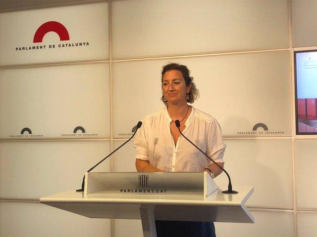 La portaveu del PSC al Parlament, Alícia Romero, en la roda de premsa