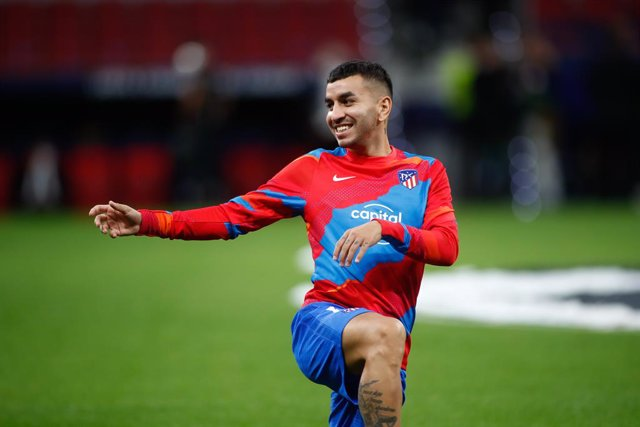Angel Correa of Atletico de Madrid warms up during the UEFA Champions League, Group B, football match played between Atletico de Madrid and FC Porto at Wanda Metropolitano stadium on September 15, 2021, in Madrid, Spain.