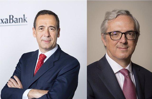 El conseller delegat de CaixaBank, Gonzalo Gortázar, i el director financer de l'entitat, Javier Pano