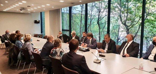 Reunió de l'expresident de la Generalitat i líder de Junts, Carles Puigdemont, amb diputats i senadors a l'Assemblea Nacional francesa