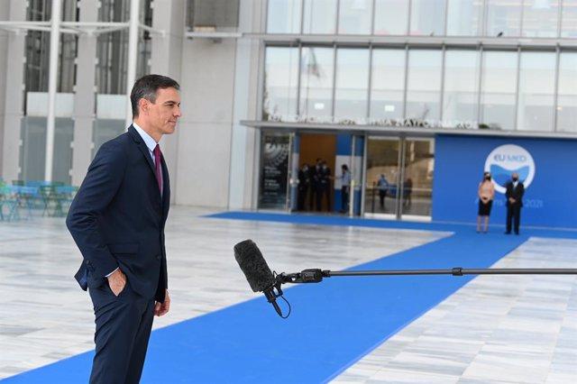 El presidente del Gobierno, Pedro Sánchez, asiste a la cumbre EUMED en Atenas