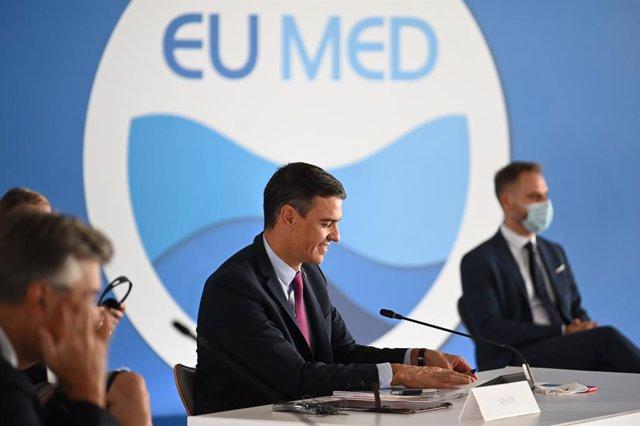 El presidente del Gobierno, Pedro Sánchez, participa en la cumbre EUMED-9 en Atenas