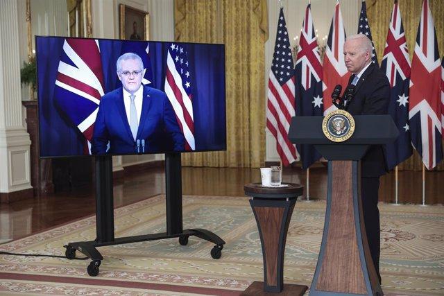 El primer ministro australiano, Scott Morrison y el presidente de EEUU, Joe Biden, durante el anuncio del acuerdo alcanzado con Reino Unido en materia de seguridad, tecnología y defensa.
