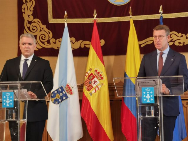 El presidente de Colombia, Iván Duque, comparece junto al presidente de la Xunta de Galicia, Alberto Núñez Feijóo.