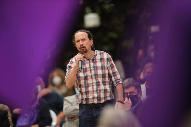 Archivo - Arxivo - Imatge de recurs de l'ex-secretari general de Podem, Pablo Iglesias, durant un acte del partit a 30 d'abril de 2021.