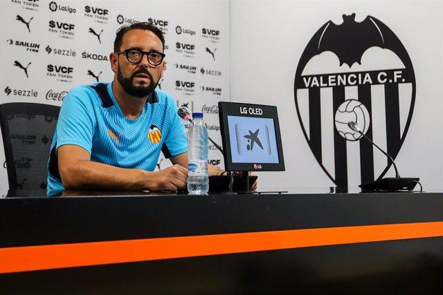 Jose Bordalas, head coach of Valencia CF, attends to the media during a press conference prior to the Granada and Valencia CF spanish league, La Liga Santander, football match at Mestalla Stadium on August 20, 2021, in Valencia, Spain.