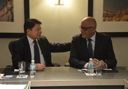 Archivo - El ministro de Exteriores de Nicaragua, Denis Moncada, y el vicepresidente venezolano Jorge Rodríguez