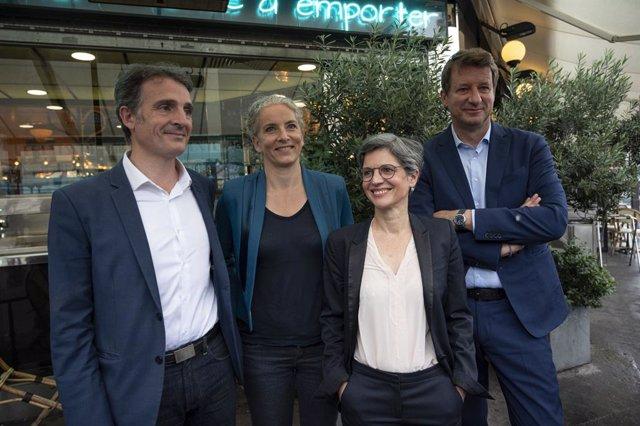 Yannick Jadot y Sandrine Rousseau precandidatos presidenciales del partido Europa Ecología-Los Verdes (EELV) para las elecciones de 2022 en Francia